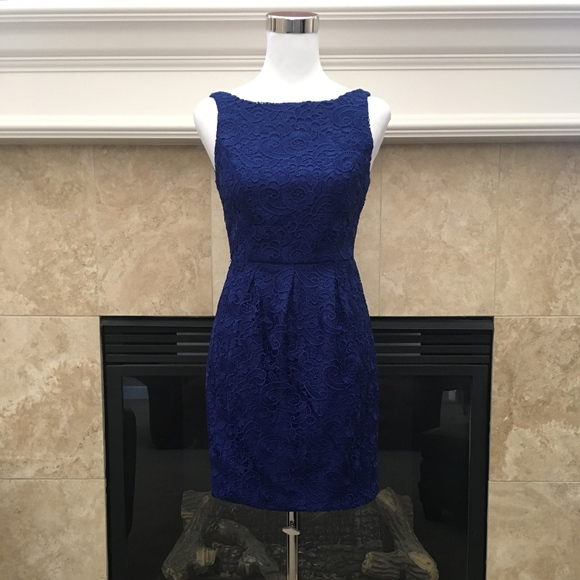 9071c1511a Aidan Mattox Dresses | Sapphire Blue Ornate Lace Dress 2 | Poshmark